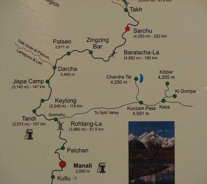 Manali - Keylong - Sarchu, 222 km, 2 dagen