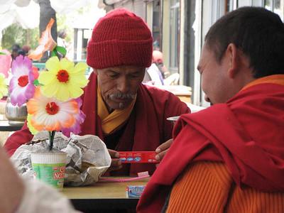 nepbloemen en een boeddhistische lama met tandenborstel